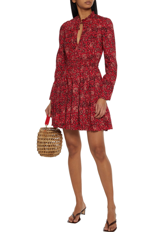 Ulla Johnson | Ulla Johnson Woman Liv Gathered Printed Cotton-blend Mini Dress Crimson | Clouty