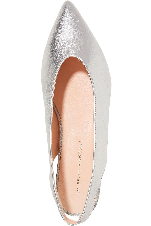 Loeffler Randall | Loeffler Randall Woman Metallic Leather Point-toe Flats Silver | Clouty