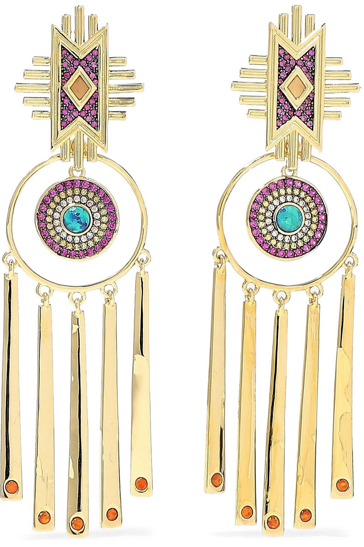 Noir Jewelry | Noir Jewelry Woman 14-karat Gold-plated Crystal Earrings | Clouty