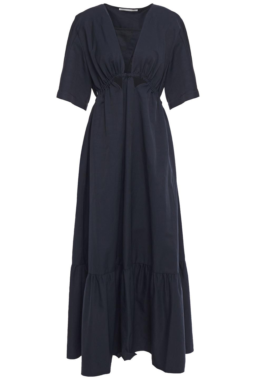 Stella McCartney | Stella Mccartney Woman Cutout Gathered Gabardine Midi Dress Navy | Clouty
