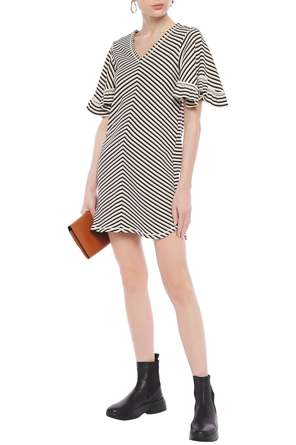 See by Chloé | See By Chloe Woman Ruffle-trimmed Striped Cotton Mini Dress Cream | Clouty