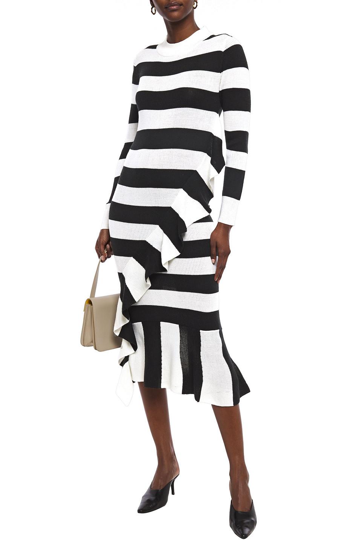 Paper London   Paper London Woman Cover Ruffled Striped Wool-blend Midi Dress Black   Clouty