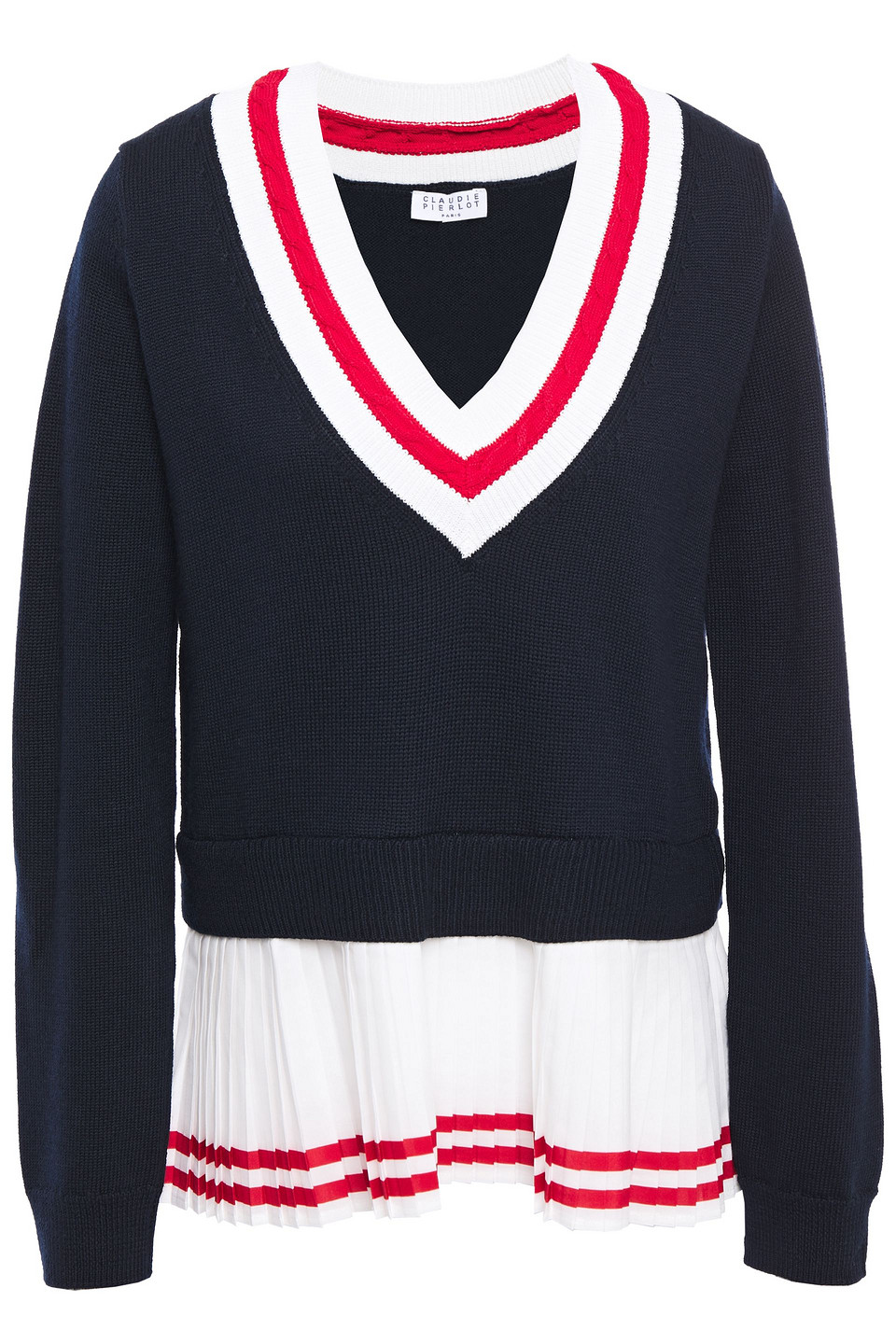 Claudie Pierlot | Claudie Pierlot Woman Crepe De Chine-paneled Striped Wool-blend Sweater Midnight Blue | Clouty