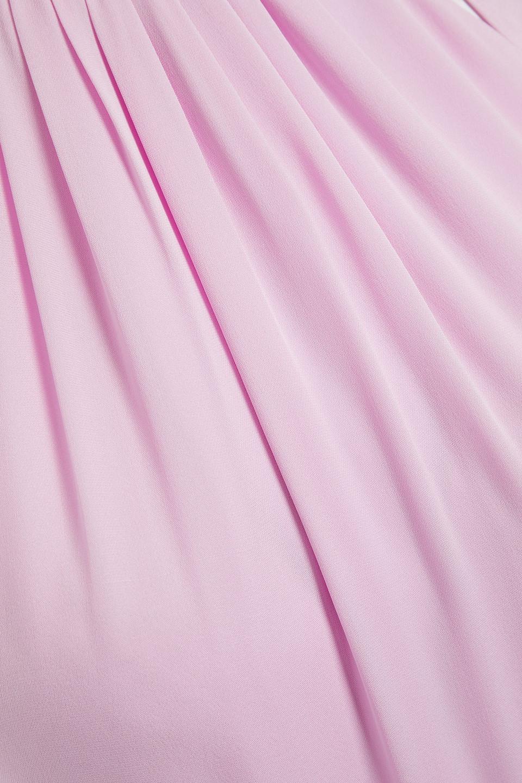 KATE SPADE | Kate Spade New York Woman Cutout Twist-front Gathered Silk-cady Midi Dress Baby Pink | Clouty
