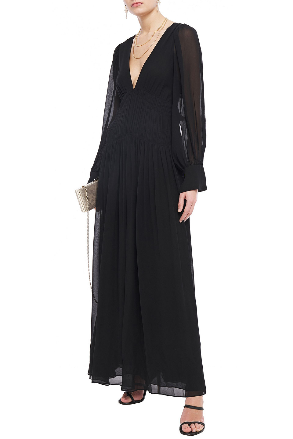Stella McCartney | Stella Mccartney Woman Carleigh Shirred Silk-georgette Maxi Dress Black | Clouty
