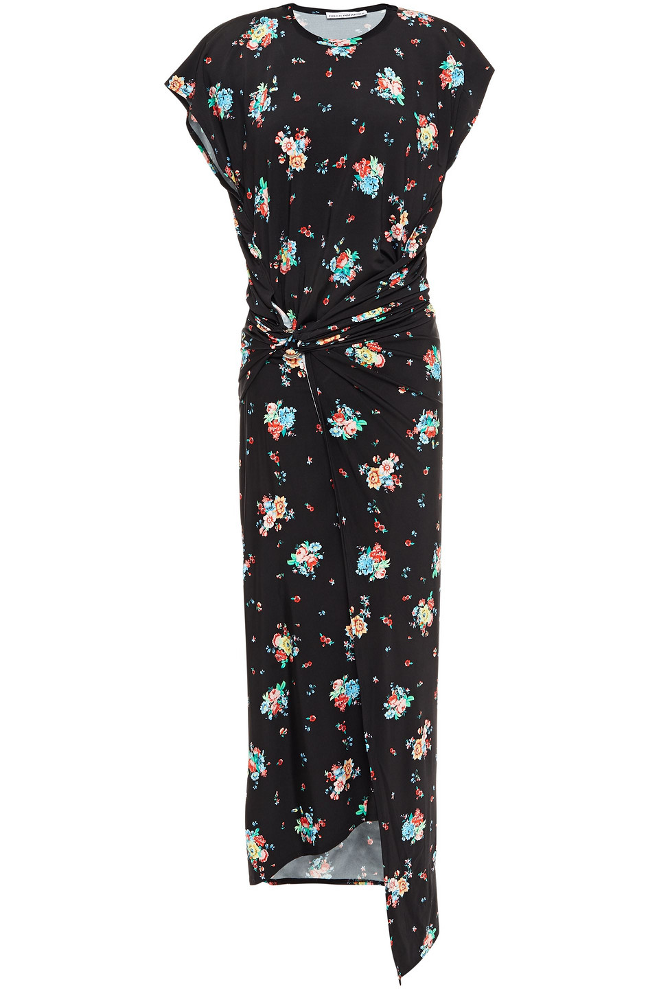 Paco Rabanne | Paco Rabanne Woman Draped Floral-print Stretch-jersey Midi Dress Black | Clouty