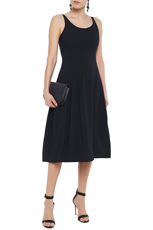 Halston   Halston Woman Ponte Midi Dress Midnight Blue   Clouty