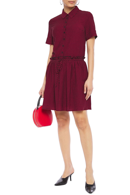 Claudie Pierlot | Claudie Pierlot Woman Gathered Striped Woven Mini Shirt Dress Crimson | Clouty