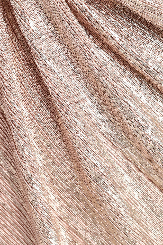 Hervé Léger | Herve Leger Woman Metallic Coated Bandage Mini Dress Rose Gold | Clouty