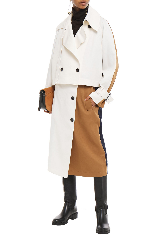 TIBI | Tibi Woman Convertible Layered Two-tone Twill Trench Coat Ivory | Clouty