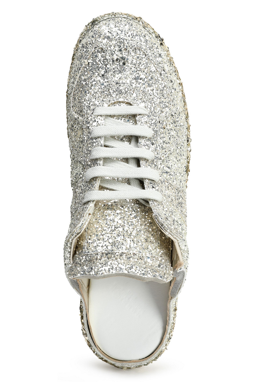 Maison Margiela | Maison Margiela Woman Glittered Woven Mules Platinum | Clouty