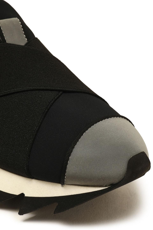Dolce & Gabbana | Dolce & Gabbana Woman Ibiza Suede-trimmed Neon Neoprene Slip-on Sneakers Black | Clouty