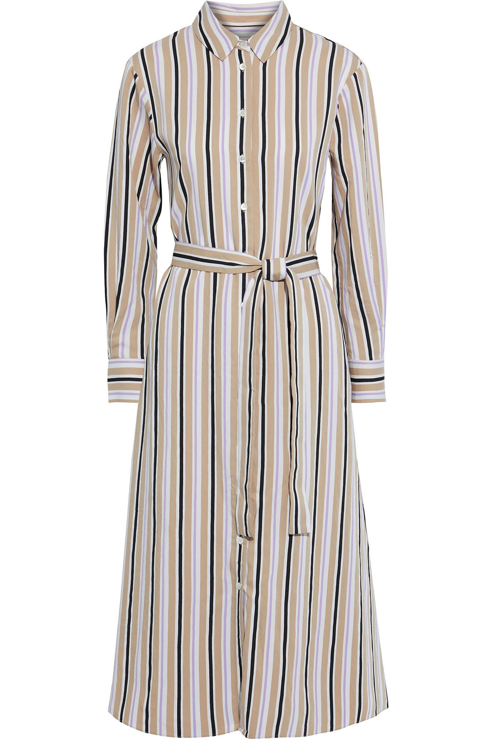 Chinti And Parker | Chinti & Parker Woman Belted Striped Woven Midi Shirt Dress Beige | Clouty