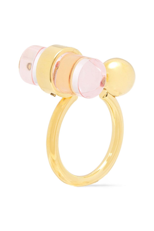 Marni | Marni Woman Gold-tone Resin Ring Pastel Pink | Clouty