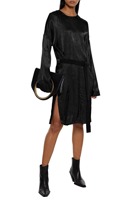 Ann Demeulemeester | Ann Demeulemeester Woman Belted Hammered-satin Dress Black | Clouty