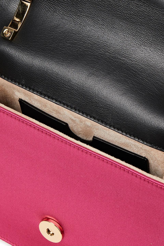 BALMAIN | Balmain Woman B Bag Logo-embellished Leather-paneled Satin Shoulder Bag Fuchsia | Clouty