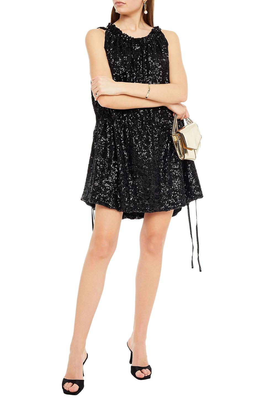 16Arlington | 16arlington Woman Taylor Gathered Sequined Chiffon Mini Dress Black | Clouty