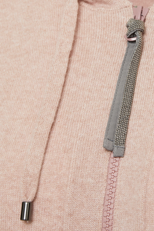 Brunello Cucinelli | Brunello Cucinelli Woman Bead-embellished Melange Cashmere Hoodie Blush | Clouty