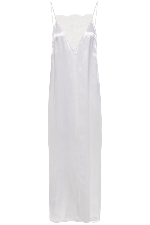 Khaite | Khaite Woman Leandra Lace-trimmed Satin Maxi Slip Dress White | Clouty