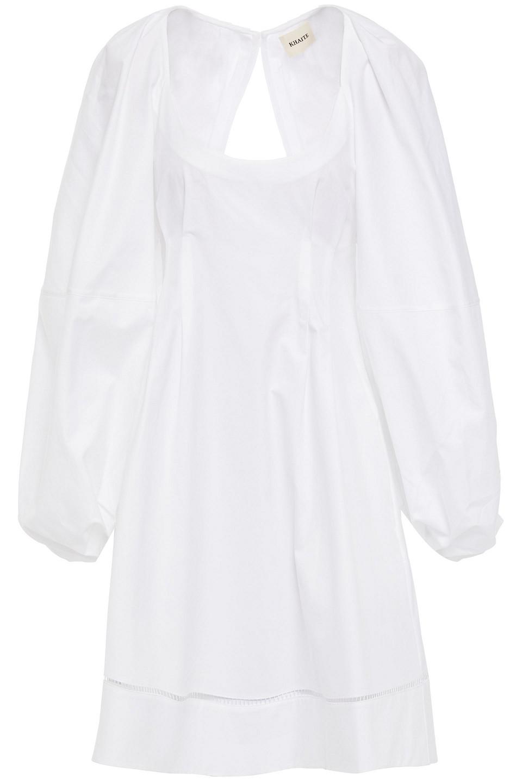 Khaite   Khaite Woman Madison Open-back Lattice-trimmed Cotton-twill Dress White   Clouty