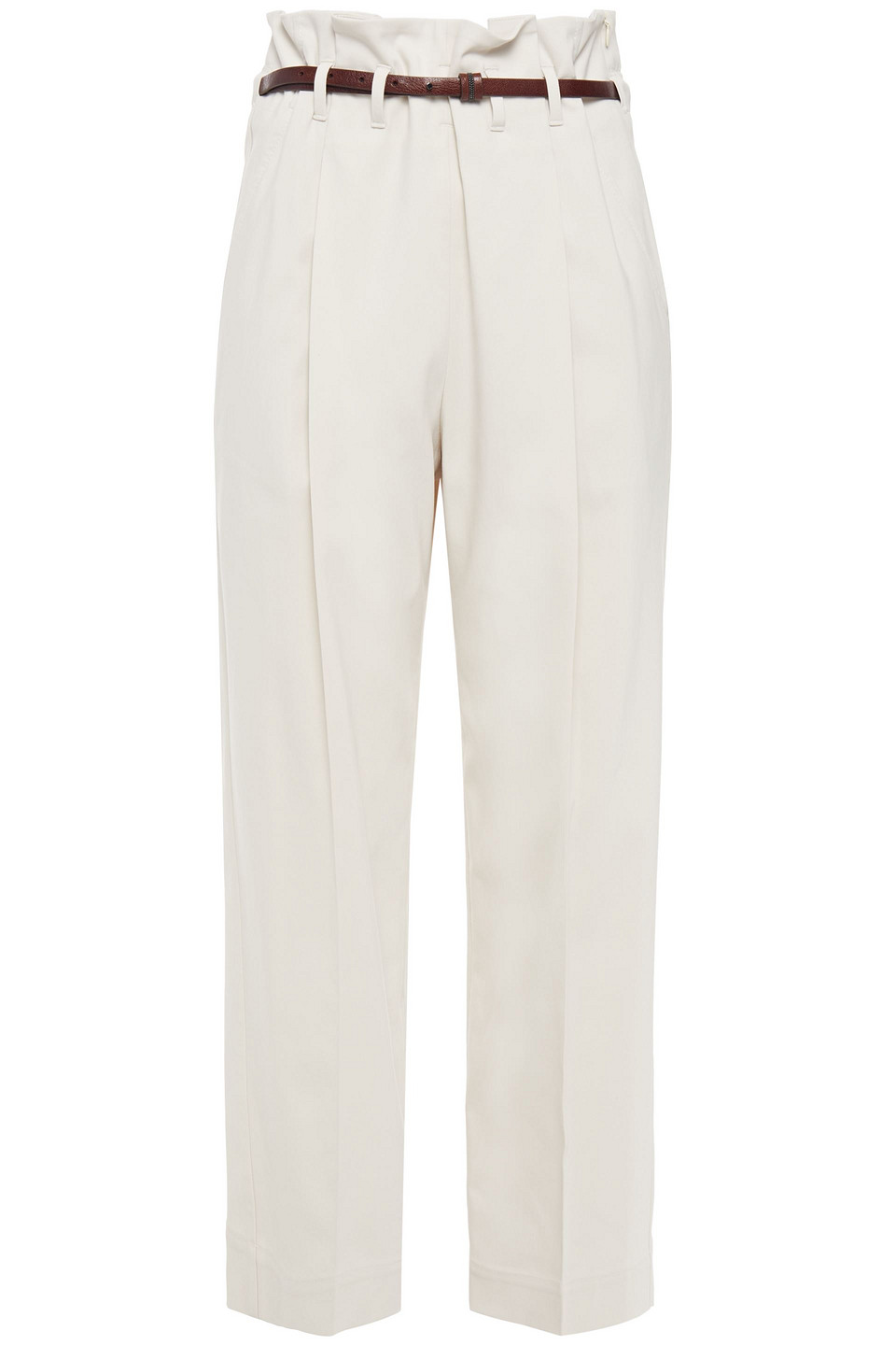 Brunello Cucinelli | Brunello Cucinelli Woman Cropped Belted Cotton-blend Twill Straight-leg Pants Cream | Clouty