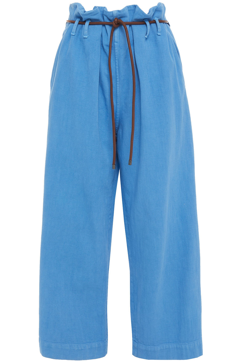 Brunello Cucinelli | Brunello Cucinelli Woman Cropped Leather-trimmed Faded High-rise Wide-leg Jeans Light Blue | Clouty
