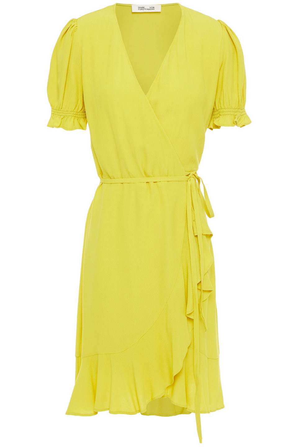 Diane Von Furstenberg | Diane Von Furstenberg Woman Emilia Ruffled Crepe Mini Wrap Dress Chartreuse | Clouty