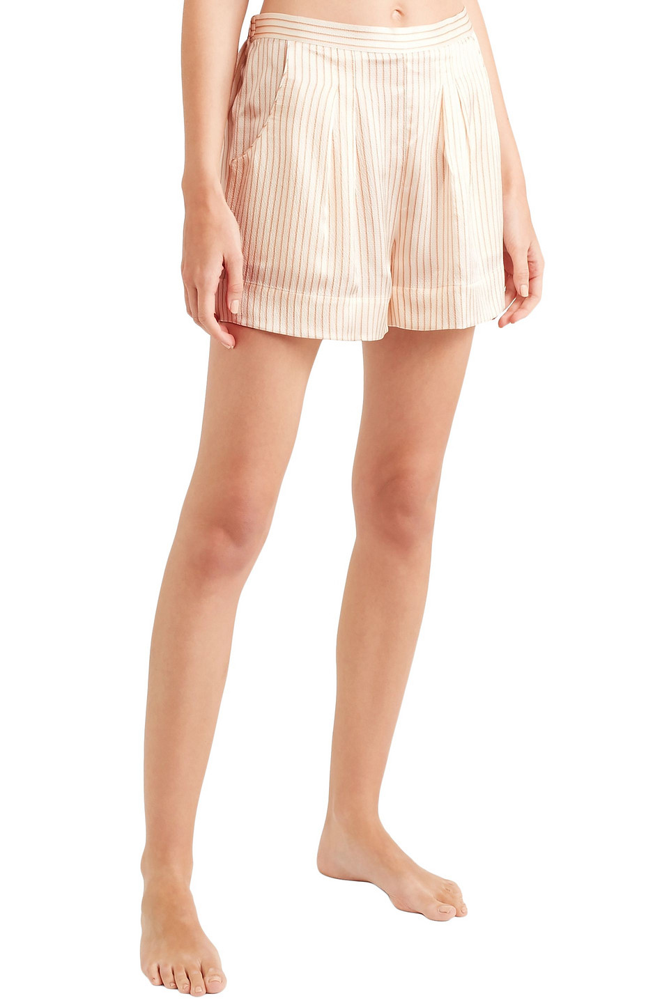 Eres | Eres Woman Riga Frutti Hammered Striped Silk-satin Pajama Shorts Cream | Clouty