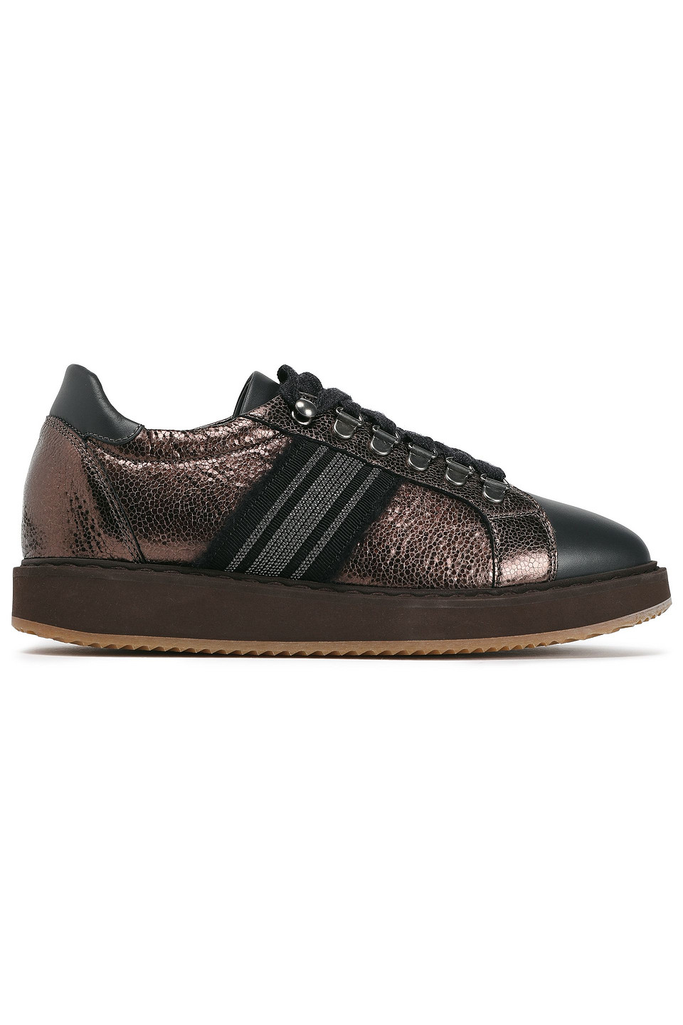 Brunello Cucinelli | Brunello Cucinelli Woman Suede-trimmed Bead-embellished Metallic And Smooth Textured-leather Sneakers Black | Clouty