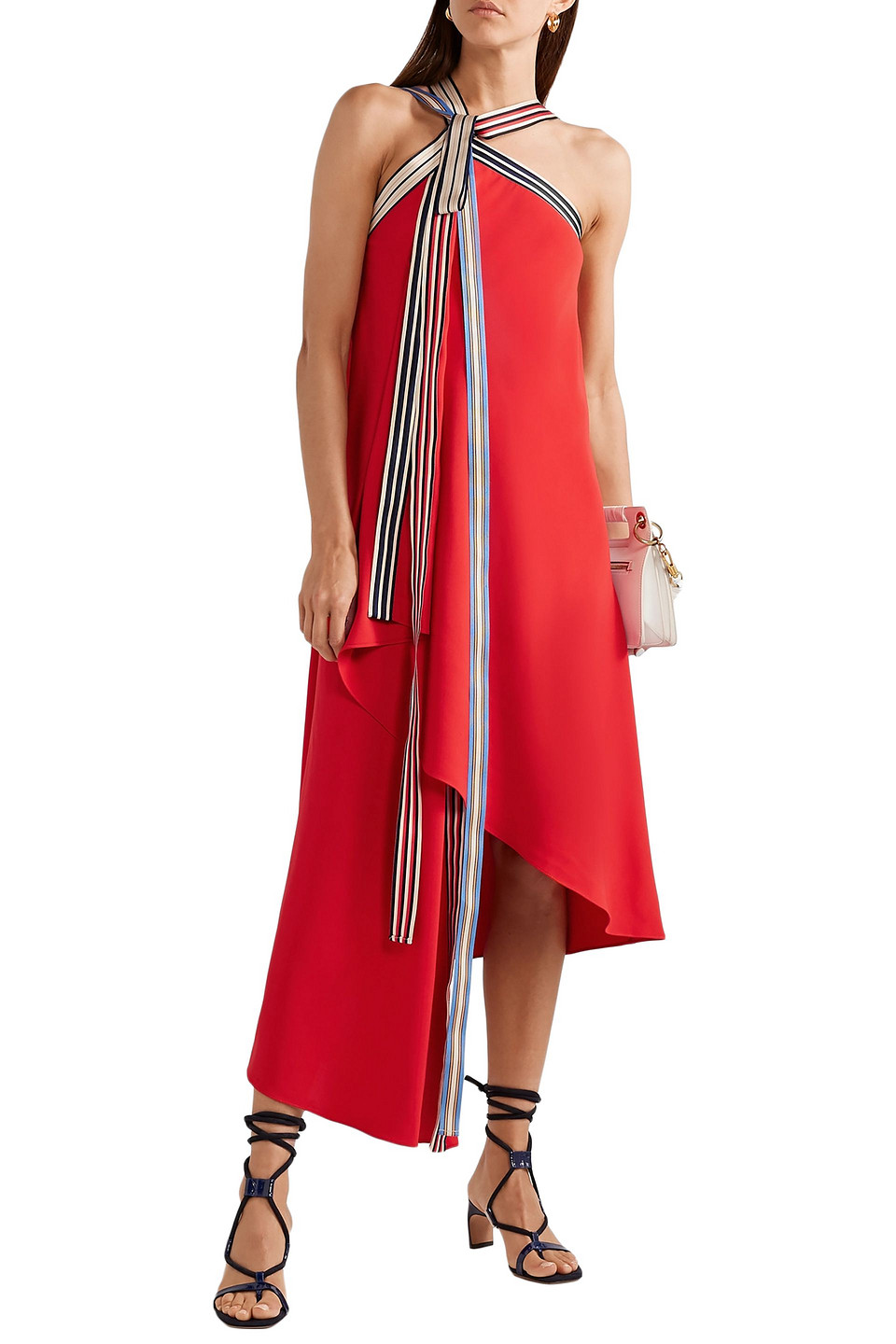 Monse | Monse Woman Asymmetric Grosgrain-trimmed Crepe Midi Dress Red | Clouty