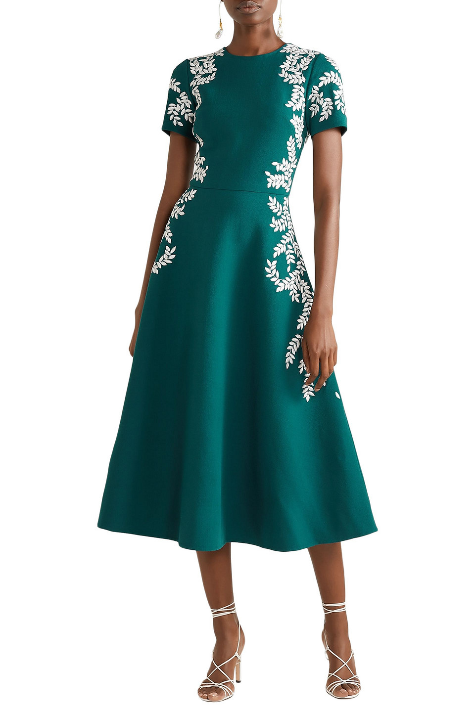 Oscar De La Renta | Oscar De La Renta Woman Embroidered Wool-blend Crepe Midi Dress Emerald | Clouty