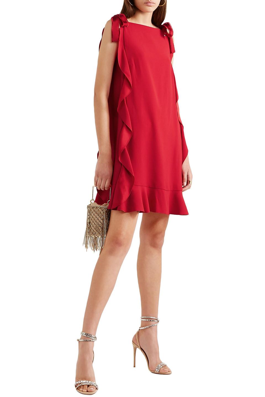 VALENTINO RED | Redvalentino Woman Grosgrain-trimmed Ruffled Crepe Mini Dress | Clouty