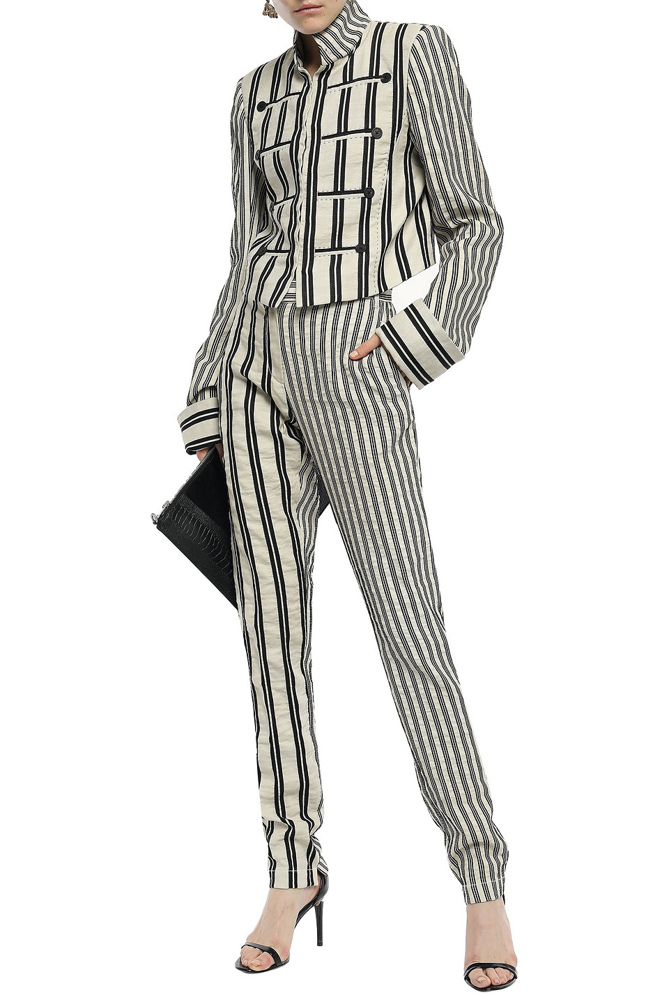 Ann Demeulemeester | Ann Demeulemeester Woman Striped Crinkled Cotton And Ramie-blend Twill Tapered Pants Ecru | Clouty