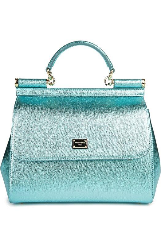 Dolce & Gabbana | Голубой Сумка Sicily medium из металлизированной кожи Dolce & Gabbana | Clouty