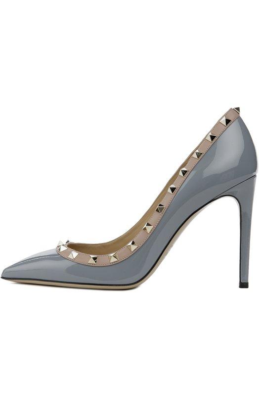 9821ceea8362 VALENTINO   Серый Лаковые туфли Valentino Garavani Rockstud на шпильке    Clouty ...