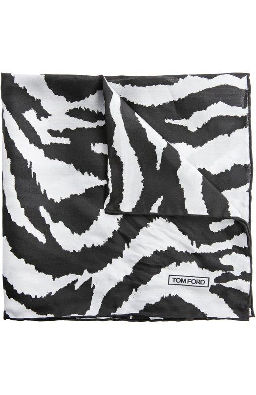 Tom Ford | Черно-белый Шелковый платок с анималистичным принтом Tom Ford | Clouty