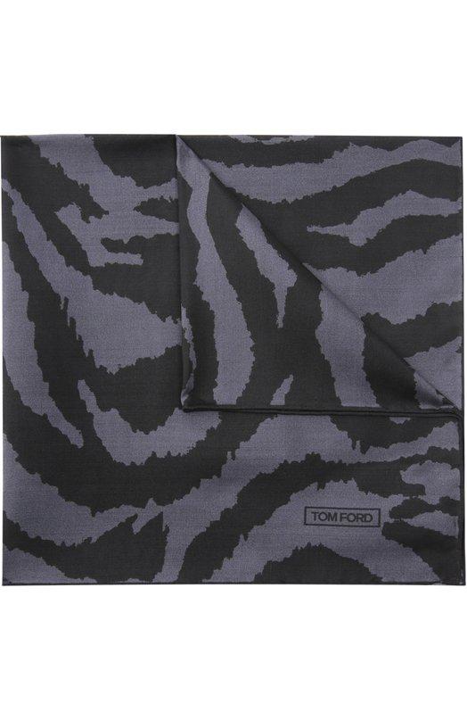 Tom Ford | Темно-серый Шелковый платок с анималистичным принтом Tom Ford | Clouty