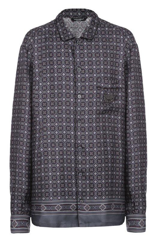 Dolce & Gabbana | Темно-серый Шелковая ночная сорочка с вышивкой Dolce & Gabbana | Clouty