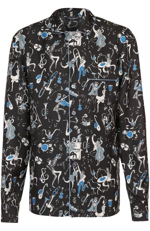 Dolce & Gabbana | Синий Шелковая домашняя сорочка с принтом Dolce & Gabbana | Clouty