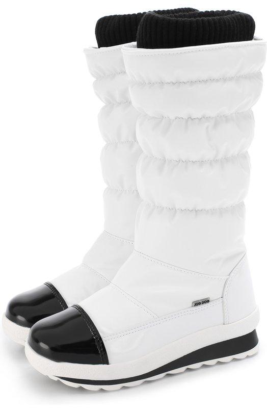 Jog Dog | Белый Текстильные утепленные сапоги с контрастной отделкой Jog Dog | Clouty