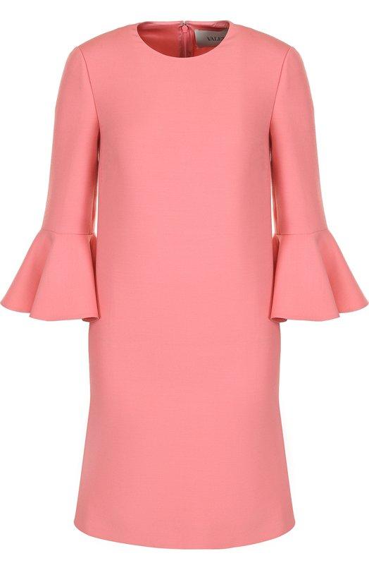 VALENTINO | Розовый Мини-платье с расклешенными рукавами и круглым вырезом Valentino | Clouty