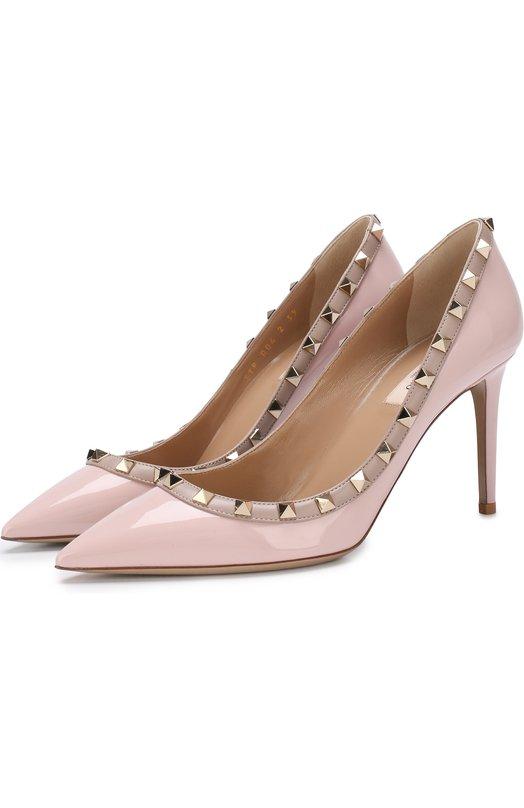 cc50c78e7334 VALENTINO   Светло-розовый Лаковые туфли Valentino Garavani Rockstud на  шпильке Valentino   Clouty ...