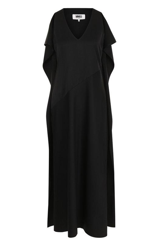 MM6 Maison Margiela | Черный Однотонное платье-миди с V-образным вырезом Mm6 | Clouty