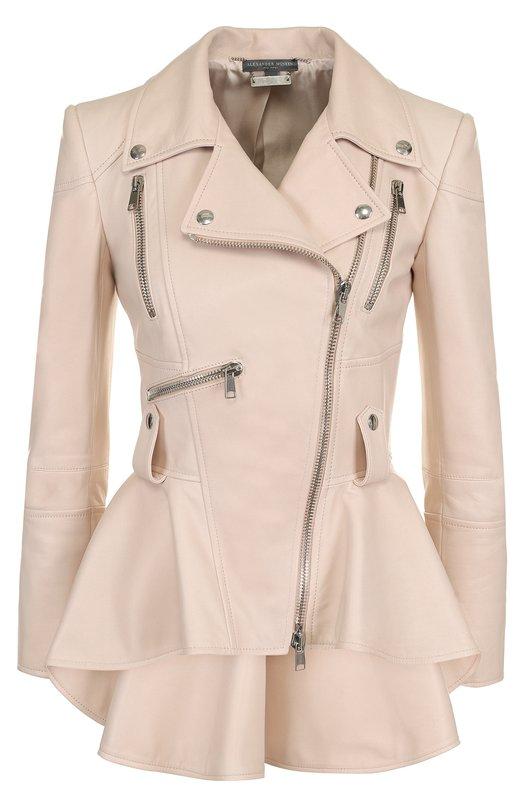 Alexander McQueen | Розовый Приталенная кожаная куртка с удлиненной спинкой Alexander McQueen | Clouty