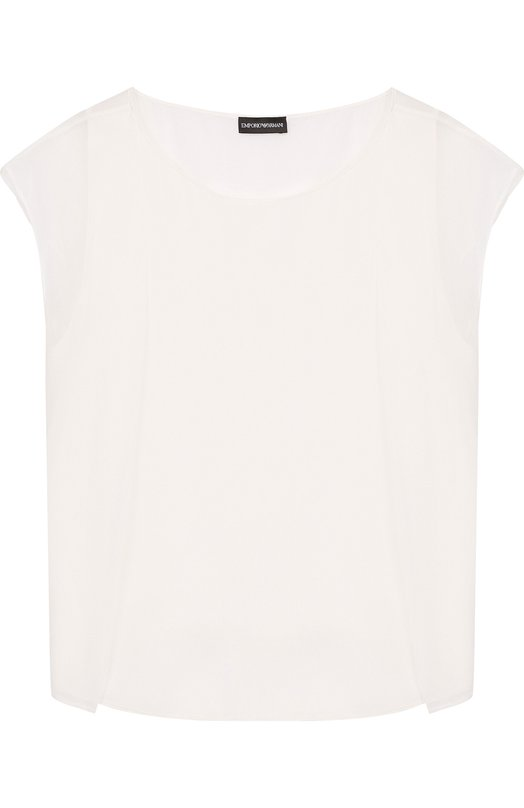 Emporio Armani | Белый Однотонный шелковый топ свободного кроя Emporio Armani | Clouty