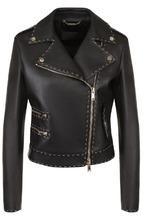 Фото Кожаная куртка с косой молнией и контрастной прострочкой Versace