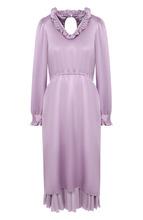 Однотонное шелковое платье-миди с оборками Balenciaga