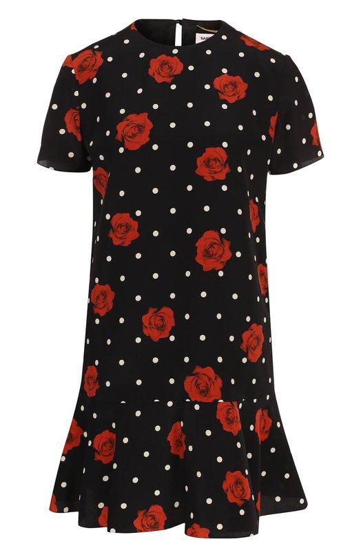 SAINT LAURENT   Черный Шелковое мини-платье с принтом и оборкой Saint Laurent   Clouty