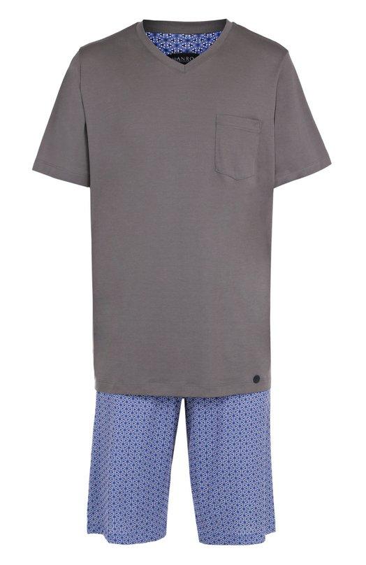 Hanro | Синий Хлопковая пижама с шортами Hanro | Clouty