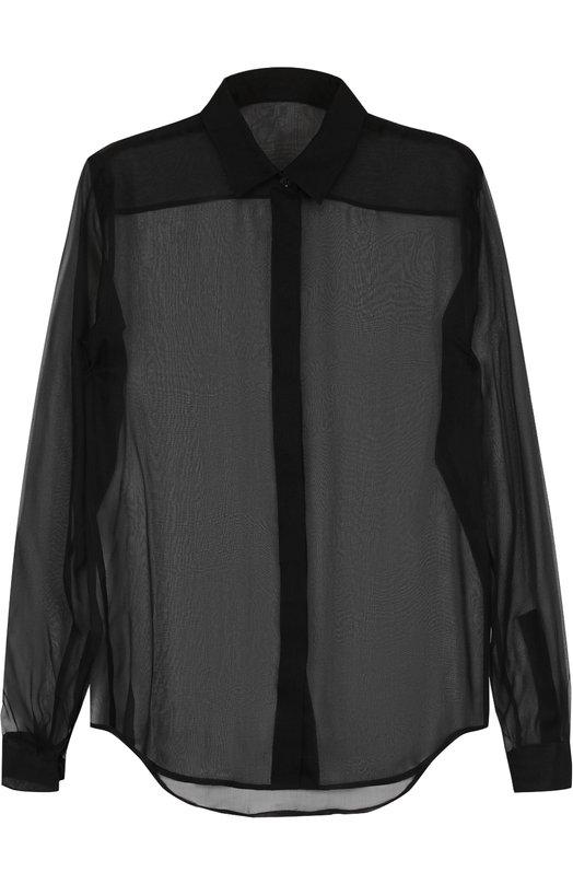 SAINT LAURENT | Черный Шелковая полупрозрачная блуза прямого кроя Saint Laurent | Clouty
